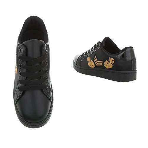 Ital-Design Sneakers Low Damenschuhe Schnürsenkel Freizeitschuhe Schwarz A-96