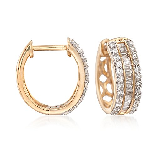 Ross-Simons 0.50 ct. t.w. Baguette and Round Diamond Huggie Hoop Earrings in 14kt Yellow Gold ()