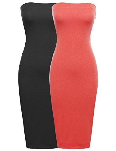 - Sexy Comfortable Tube Body-Con Midi Dress in Black/Coral 2XL