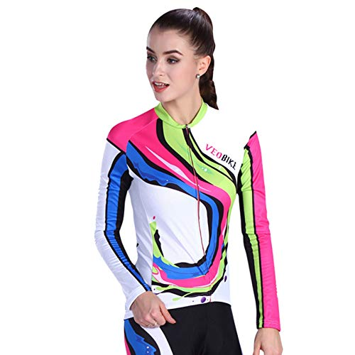 (EoCot Women's Cycling Jersey Long Sleeve Mountain Bike Road Bicycle Shirt Biking Jakcet Outfit Colorful Asia S=US X-Small)