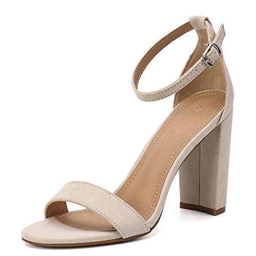 Moda Suede Pumps (Moda Chics Women's High Chunky Block Heel Pump Dress Sandals Nude MF 7.5 D(M) US)