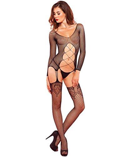 Leg Avenue Women's Industrial Net Long Sleeve Suspender Bodystocking - Black - One ()
