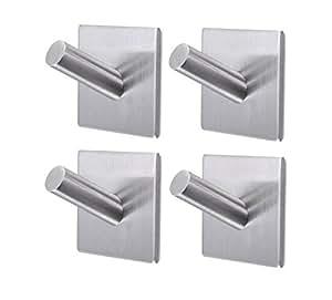 bathroom towel hooks 3m self adhesive wall hooks heavy duty stainless steel coat hanger for. Black Bedroom Furniture Sets. Home Design Ideas