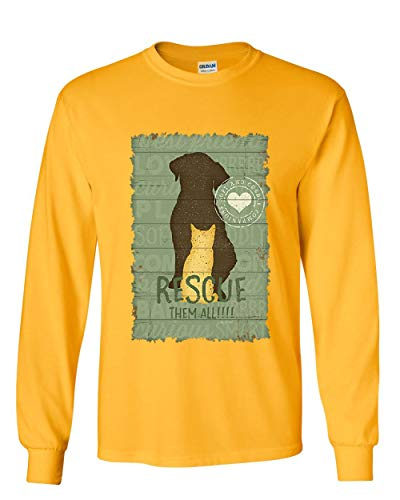 (Rescue Them All Long Sleeve T-Shirt Animal Shelter Dog Cat Paw Kitten Puppy Tee Yellow L)