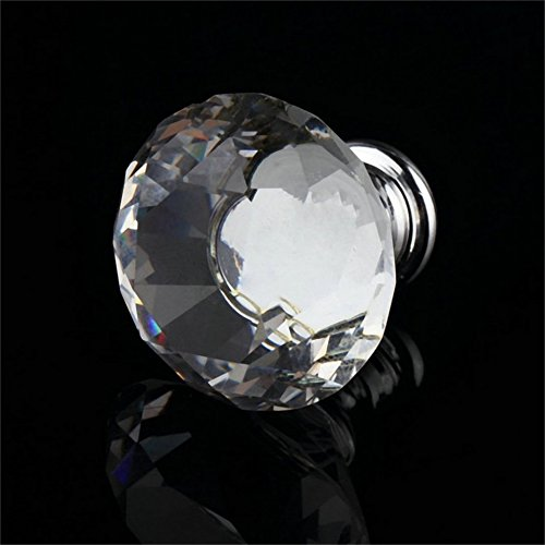 Fashionable 40mm Clear Diamond Shape Zinc Alloy and Crystal Glass Pull Handle Cupboard Cabinet Drawer Door Furniture Knob