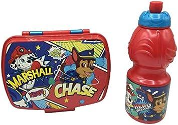 CM Pack 2pcs Botella de Agua plastico Infantil 400ml- Fiambrera sandwicheras para niños, cantimplora a Prueba de Fugas sin BPA (Rojo-Pat)