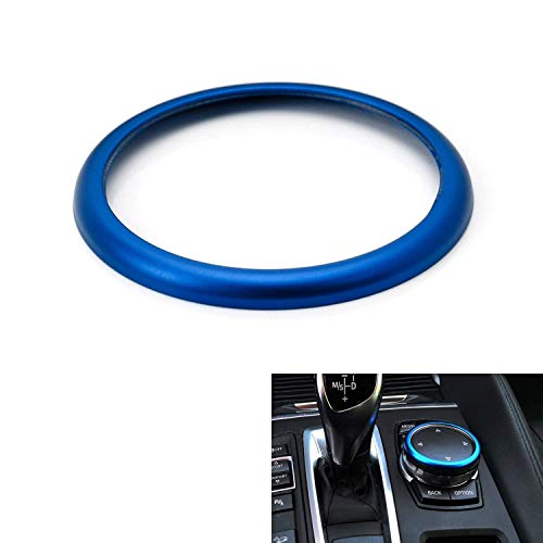 iJDMTOY 1pc Blue Aluminum Ring For BMW 1 2 3 4 5 6 7 Series X3 X4 X5 X6 Center Console iDrive Multimedia Controller Knob (Fit All Fxx Chassis Codes)