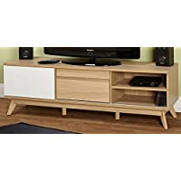 Target Marketing Systems Selena Collection Ultra Modern TV Stand With Two Shelves and Two Drawers, With Splayed Legs, Wood/White