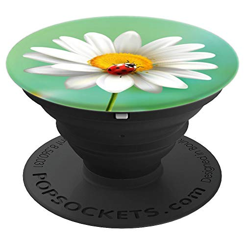Daisy with Ladybug Cute Flowers White Yellow Green Print - PopSockets Grip and Stand for Phones and -