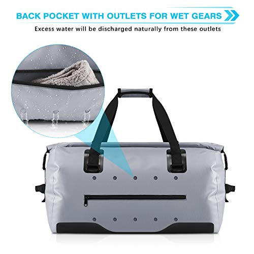 Gonex 60L Large Waterproof Duffel, Durable Travel Dry Duffle Bag for Kayaking Boating Fishing Outdoor Adventure Gray