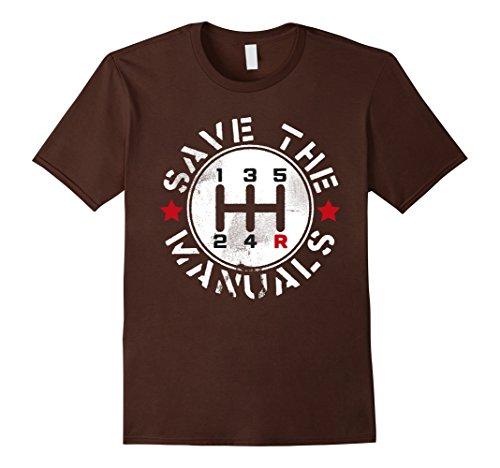 Mens Three Pedals Manual Transmission T Shirt Medium Brown
