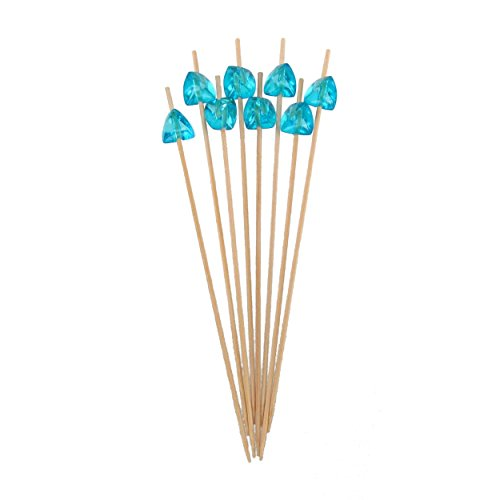 BambooMN 5.9'' Decorative Acrylic Light Blue Gem End Bamboo Cocktail Fruit Sandwich Picks Skewers for Catered Events, Holiday's, Restaurants or Buffets Party Supplies, 100 Pcs by BambooMN