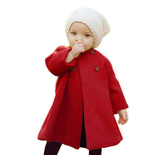 iYBUIA Autumn Winter Girls Kids Baby Solid Outwear Cloak Button Jacket Warm Coat Clothes(Red,65) -