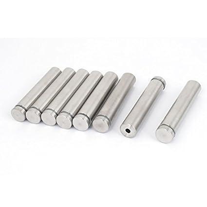 8pcs Publicidad de cristal sin marco 16x80mm de acero inoxidable Pasadores de separadores
