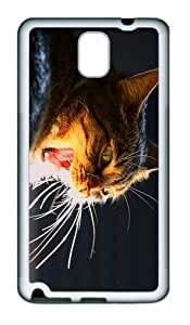 case cover cat yawns TPU White case/cover for samsung galaxy note 3 N9000