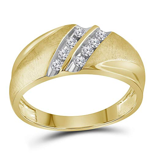 (Jewel Tie Solid Size 12-14k Yellow Gold Mens Round Diamond 2-Row Wedding Band Ring 1/4 Cttw)