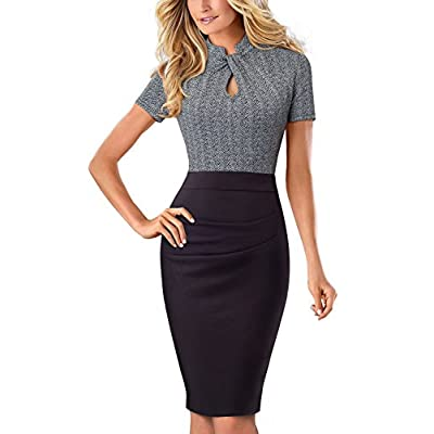 HOMEYEE Women's Short Sleeve Business Church Dress B430 at Women's Clothing store