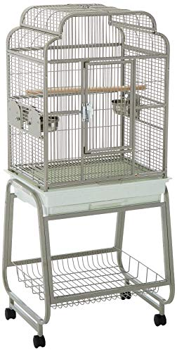 A&E Cage 782217 Platinum Open Victorian Top with Plastic Base Bird Cage, 22″ x 17″