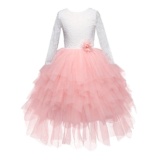 Baby.Yep Lace Back Flower Girl Dress,Kids Cute Backless Dress Toddler Party Tulle Tutu Dresses for Baby Girls