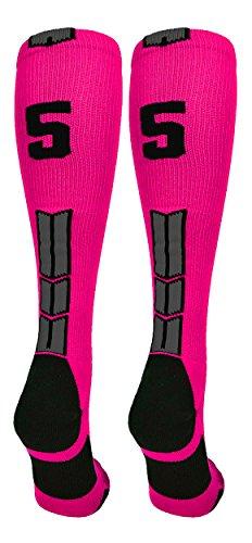 (MadSportsStuff Neon Pink/Black Player Id Over the Calf Number Socks (#55, Medium))
