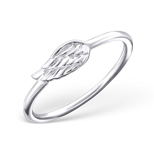 Pro Jewelry 925 Sterling Silver Angel Wing Above Knuckle Ring Mid Finger Top 6595 (Cupid Bow And Feathers)