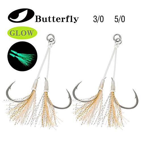 Ocean Cat Assist Hooks Butterfly Glow Jigging Jigs Slow Fast Fall Hooks Size 2/0,3/0,4/0,5/0 (Yellow3/0-6pcs/pack)