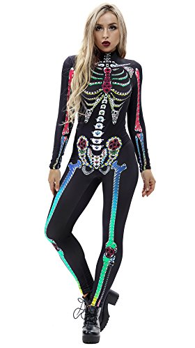 URVIP Women Halloween Skeleton Costume Stretch Skinny Catsuit