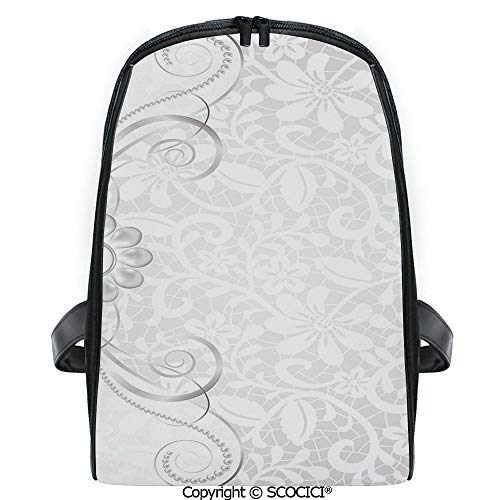 SCOCICI Casual Stylish Backpack Lace Inspired Flourish Motifs Background with Bridal Flower Border Wedding Theme 2019 Deals! One Size (Best Wedding Motif For 2019)