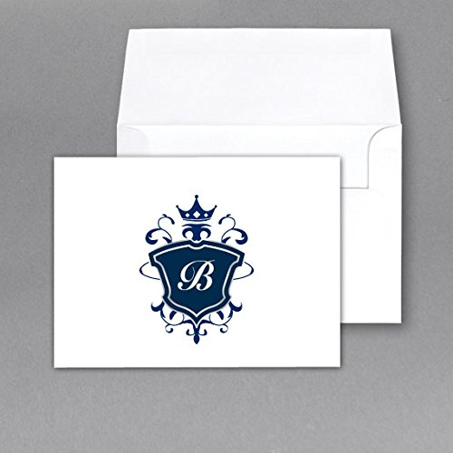Monogram Note Card Stationery Set, Size 4.5 X 6 with Matching A6 Envelopes 100 Lb. Heavyweight- Pack of 50(LETTER B)