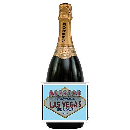 Married in Las Vegas Bottle Labels, Personalized (set of 24)(L545) (Party Beer Vegas Wedding)