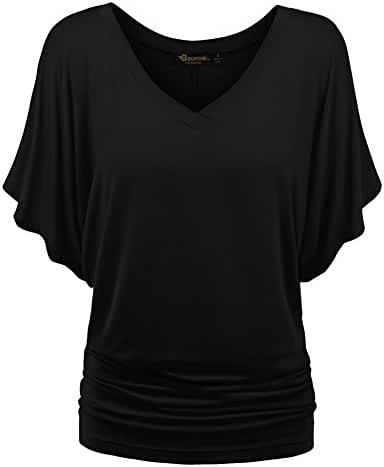 BMS Womens Short Sleeve Boat Neck Solid Shirring Dolman Drape Top Tee Shirt