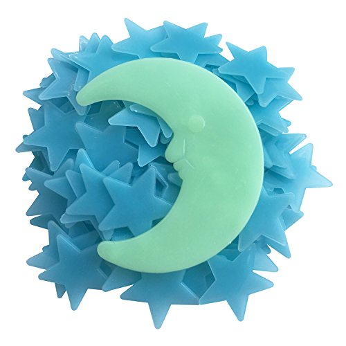 Fluorescent Star Moon Sticker, Glow in the Dark Mini Star Decal Decoration Gift Present for Baby Kids Room Bedroom Wall Ceiling, 1.18 Inch Blue Star with 1 Moon, Blue Light- Set of 100