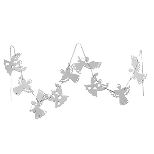SUNBEAUTY 9Pcs Angel Garland Christmas Hanging Decoration Party Home Birthday Baby shower Ornament (Silver)