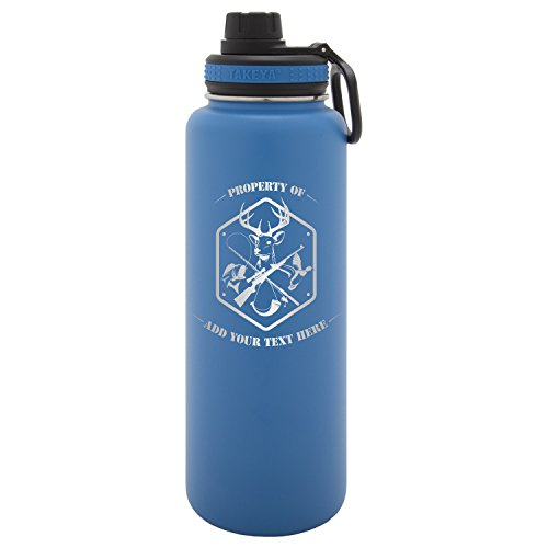 Army Force Gear Personalized Custom Outdoorsman Deer and Duck hunting Fishing Laser Engraving Thermoflask Leak Proof Insulated Stainless Steel Workout Sports Water Bottle Tumbler, 40 Oz, Blue Deer Hunting Engraving