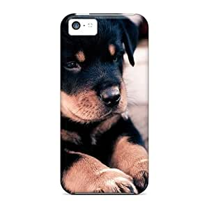 Iphone 5c Hard Back With Bumper Silicone Gel Tpu Case Cover Cute Rottweiler Puppy