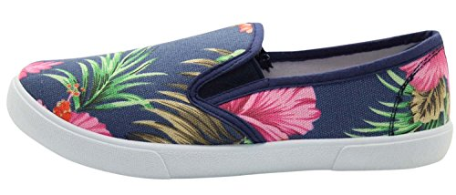 Face Shoes Beach True Floral Womens Blue Palm Sneaker Plimsoll 7Cdwq4WwTx