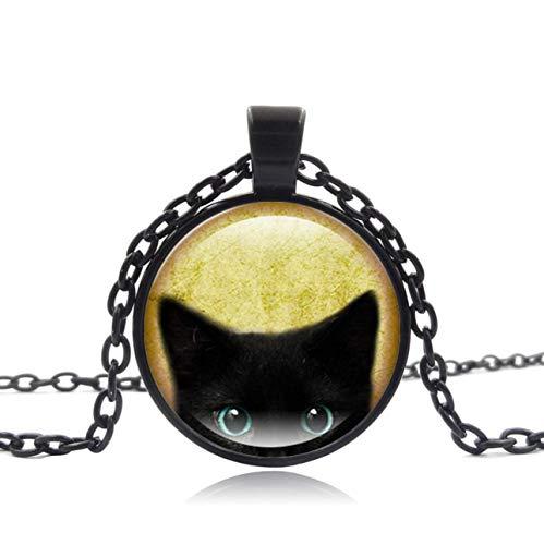 Black Cat Pendant Necklace- Cute Black Cat Jewelry