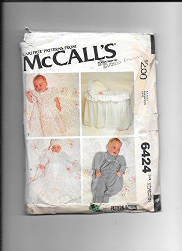 Mccall's 6424 sewing pattern for newborn infants christening dress, bonnet, coveralls, and bassenette-crib basket cover