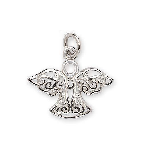JewelryWeb 925 Sterling Silver Filigree Angel Charm - 18mm