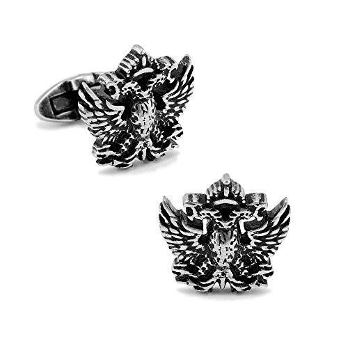 (SPARTASPT Antic Silver/18K gold Plated Two Heads Eagle Basso-Relievo cufflinks Animal cufflinks men's Cufflinks restore ancient ways cufflinks Wedding Business Classic metal buttons (silver))