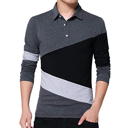 Price comparison product image Men's Casual Slim Fit T-Shirts Classic Long Sleeve Golf Polo Shirts