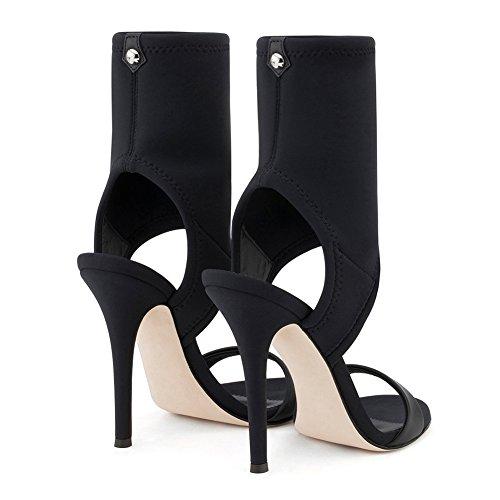 Mujer Alta Sandalias Stiletto Moda Tacón Zapatos De KJJDE Hueco Elástico Paño Fiesta 8CM 8001 De Baile TLJ Tacón Alto Black Sexy p5Hdnq