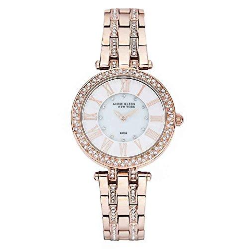 Anne Klein NY Womens Rosegold-tone Mo' Pearl Swarovski Crystal Watch 12/2218WMRG