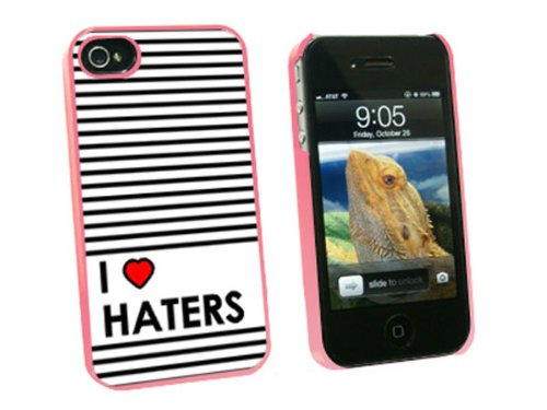 Graphics and More I Love Heart Haters - Snap On Hard Protective Case for Apple iPhone 4 4S - Pink - Carrying Case - Non-Retail Packaging - Pink