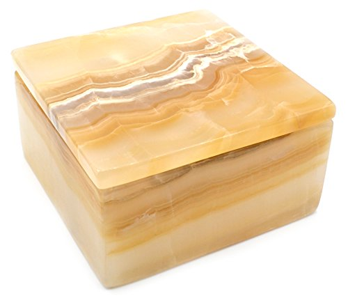 (Glowing Amber Stone Square Keepsake Box, 6