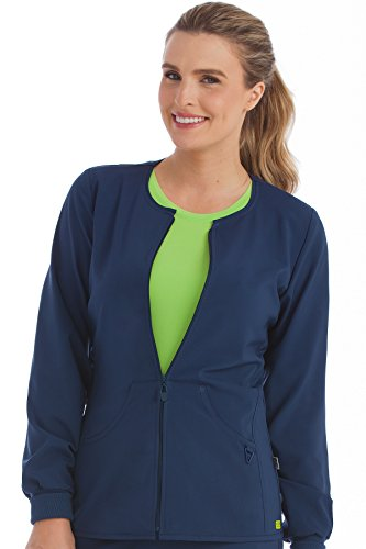 Med Couture Women's 'Activate' Zip Front Warm Up Scrub Jacket, Navy, Medium (Jacket Front Scrub Zip)