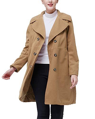 Manteau Long Femme Loisirs De Temprament lgant Et Confortable Col  Revers Manteau De Couleur Unie Kaki