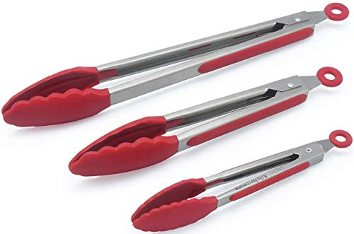 (The holm Set of 3 Heavy Duty, Non-stick, Stainless Steel Kitchen Red Tongs (7, 9, 12 Inch) for Barbeque, Cooking, Grilling Turner - A Serving and Feeding Set for Your Kitchen)