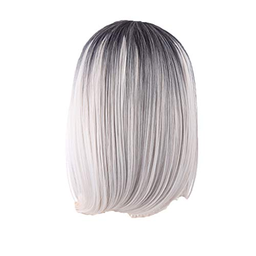 Weiweidain Black Pink Ombre Hair Straight Bob Wigs Synthetic Hair Short Party Hair -