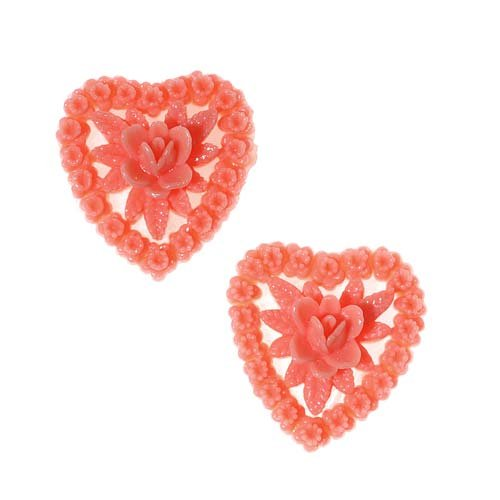 Lucite Heart Cabochons 3D Coral Flower Cluster 18mm (2)